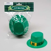 Mini Plastic St. Patrick's Hats 5 Pack Wholesale Bulk
