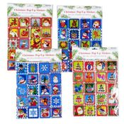 Pop-Up Christmas Stickers 20 Count Wholesale Bulk