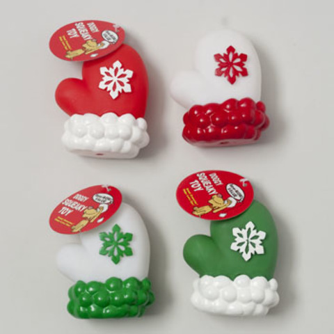 CHRISTMAS Vinyl Dog Toy Mitten - Assorted Colors [1933638]