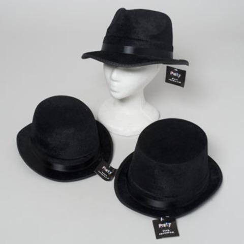 Black Flocked Hat with Satin Trim [2123869]