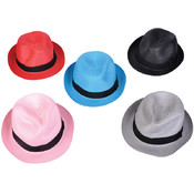 Straw Look Plastic Fedora Hats