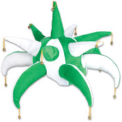 Green/White Spike Jester Hat Wholesale Bulk