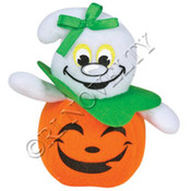Plush Ghosts In Jack-O-Laterns