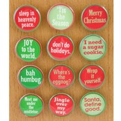 Circle Christmas Magnet with Quotes - 12 Assorted