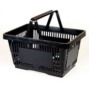 (Black) Heavy Duty Standard Shopping Basket Set With Plastic Handles