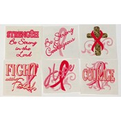 Inspirational Pink Ribbon Tattoos (Pack of 72)