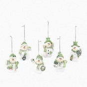 Resin Snowman Ornaments - Green