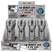 Blazing LEDz 10 White+ 5 UV+Laser Flashlight