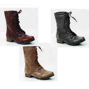 Lace Up Boots-Gray/Tan/Taupe