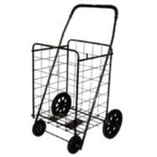 Jumbo Foam Wheel Folding Shopping Cart - Black