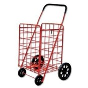 Jumbo Foam Wheel Folding Shopping Cart - RED