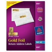 "Avery Consumer Products  Inkjet Mailing Labels, 3/4""x2-1/4"", 300/PK, Gold Foil"