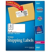 "Avery Consumer Products  Laser Labels, Mailing, Permanent, 2""x4"", 1000/BX, White"