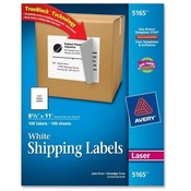 "Avery Consumer Products  Laser Labels, Mailing, Permanent, 8-1/2""x11"", 100/BX, White"