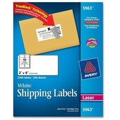 "Avery Consumer Products  Laser Labels, Mailing, Permanent, 2""x4"", 2500/BX, White"