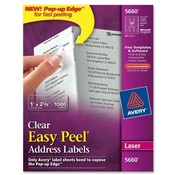 "Avery Consumer Products  Laser Labels, Mailing, 1""x2-5/8"", 1500/BX, Clear"