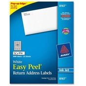 "Avery Consumer Products  Inkjet Labels, Mailing, 1-3/4""x1/2"", 2000/PK, White"