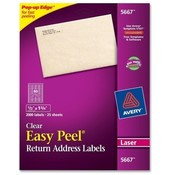 "Avery Consumer Products  Laser Labels, Mailing, 1/2""x1-3/4"", 2000/BX, Clear"