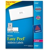 "Avery Consumer Products  Laser Labels, Mailing, 1""x2-5/8"", 3000/BX, White"