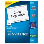 "Avery Consumer Products  Copier Label, Full Sheet, 8-1/2""x11"", 100/BX, White"