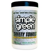 "Simple Green Degreaser Safety Towel,10""x11-3/4, 75 Wipes"