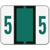 "Smead Manufacturing Company  Numeric Coded Labels, ""5"", 1-1/4""x1"", 500/RL, Dark Green"