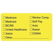 Tabbies  Insurance Labels for Medical Office,3-1/4&quot;x1-3/4&quot;,250/RL,YW