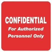 Tabbies  Confidential For Authorized Personnel Only&quot;,2&quot;x2&quot;,500/RL,RD
