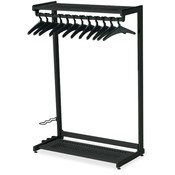 "Quartet Two Shelf Garment Rack, Free Stand,12 Hangers,48"" Wide,Black"