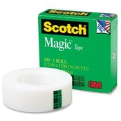 3M Commercial Office Supply Div.  Magic Tape, 1&quot; Core, 1/2&quot;x1296&quot;, 1/PK, Transparent