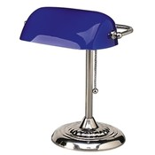 "Ledu Corporation Bankers Lamp, 14""H, Uses 60W Incandescent Bulb, Blue Shade"
