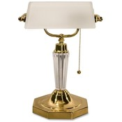 "Ledu Corporation Executive Glass Bankers Lamp, 14-5/8"" High, Acrylic Finish"