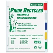Kleer-Fax, Inc.  Binder Index Tabs, 5 Tab, Letter