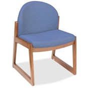 Safco Products Company Armless Guest Chair, 22-3/4&quot;x23&quot;x31-1/4&quot;, Cherry/Blue