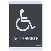 "U.S. Stamp & Sign ADA Signs,""Accessible"", Adhesive, 6""x9"", Silver/Black"