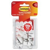 3M Commercial Office Supply Div.  Hooks w/ Adhesive Strips,Small Wire,Holds 1/2lb.,9/PK,WE