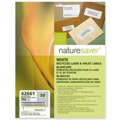 "Nature Saver  File Folder Label,Laser/Inkjet,2/3""x3-7/16"",750/PK,Assorted"