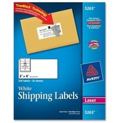 "Avery Consumer Products  Laser Labels, Mailing, Permanent, 2""x4"", 250/PK, White"