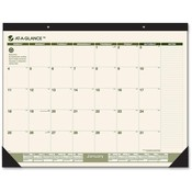 "At-A-Glance  Montlhy Desk Pad, 12-Month, Jan-Dec, 22""x17"", Green/Cream"