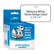 "Dymo Corporation Name Badge, Adhesive, 4""x2-1/4"", 300/BX, White"