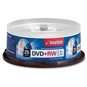 Imation DVD+RW Rewritable, 8X, 4.7GB, Branded, 25/PK, Silver