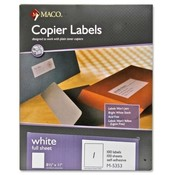 "Maco Tag & Label  Copier Labels, 100 Sheets Per Box, 8-1/2""x11"", White"