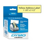 "Dymo Corporation  Address Labels,1-1/8""x3-1/2"",130/Roll,1 RL/BX, Yellow"