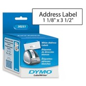 "Dymo Corporation Address Labels, 3-1/2""x1-1/8"", 130 Labels/RL, 2LR/BX, White"