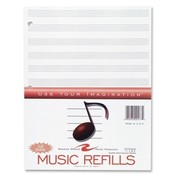 Roaring Spring Paper Products Music Refill Paper, 3-Hole, 11'x8-1/2', 20SH/PK, White Wholesale Bulk