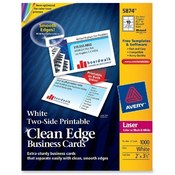 Avery Consumer Products Business Cards,F/Laser Printer, 1000/PK,3-1/2x2,White Wholesale Bulk
