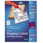 "Avery Consumer Products  Shipping Labels,w/ Paper Receipt,5-1/16""x7-5/8"", 25/PK,WE"