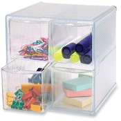 "Sparco Products  Storage Organizer, 4 Compartment, 6""x7-1/4""x6"", Clear"