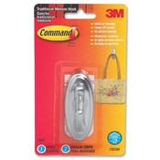 3M Commercial Office Supply Div.  Plastic Hooks,Traditional Design,Med.,Holds 3lbs,Metallic