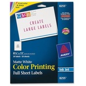 Avery Consumer Products  Color Inkjet Labels,Matte,Full Sheet,8-1/2&quot;x11&quot;,20/PK,WE